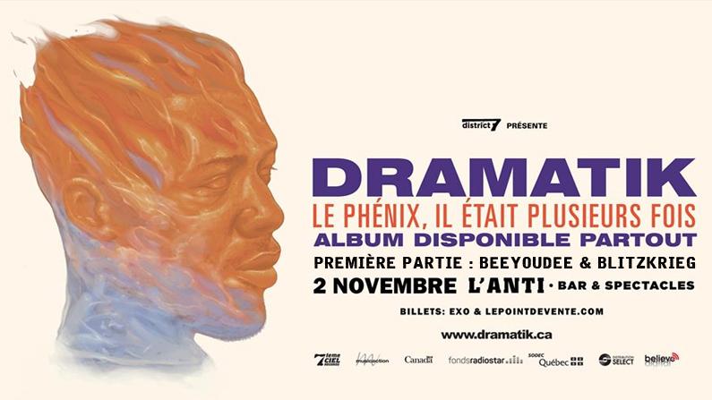 Beeyoudee & Blitzkrieg en spectacle avec Dramatik à L'ANTI Bar & Spectacles.